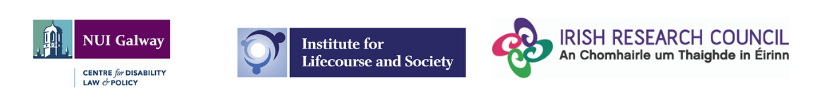 NUI Galway CDLP logo, Institute for Lifecourse and Society logo and Irish Research Council logo