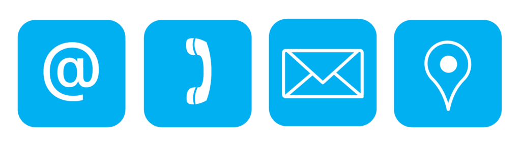 Banner with blue squares featuring the @ symbol, a phone, an envelope and a location pin.