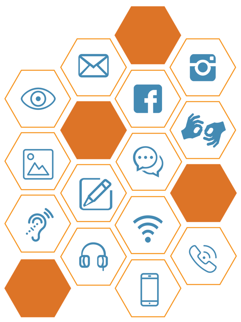 Image with hexagons showing various communication symbols