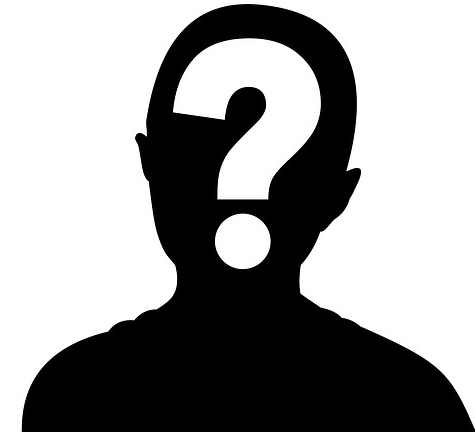 Black silhouette of a persons head with a question mark