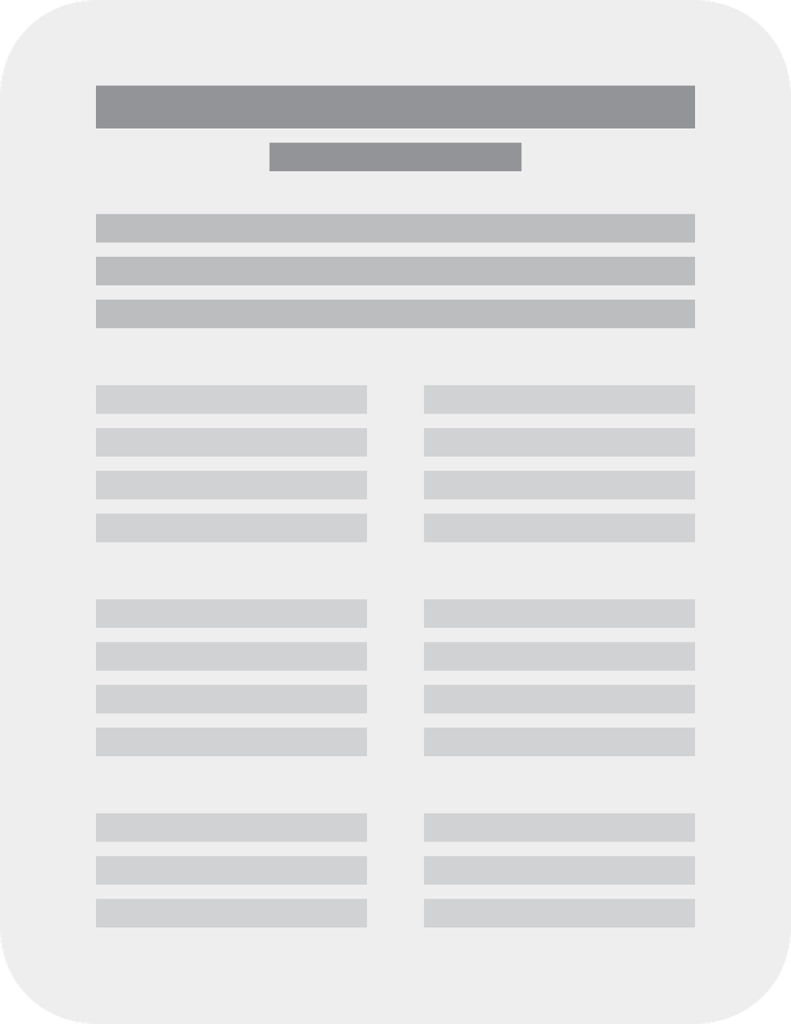 White sheet of paper with grey lines to indicate text